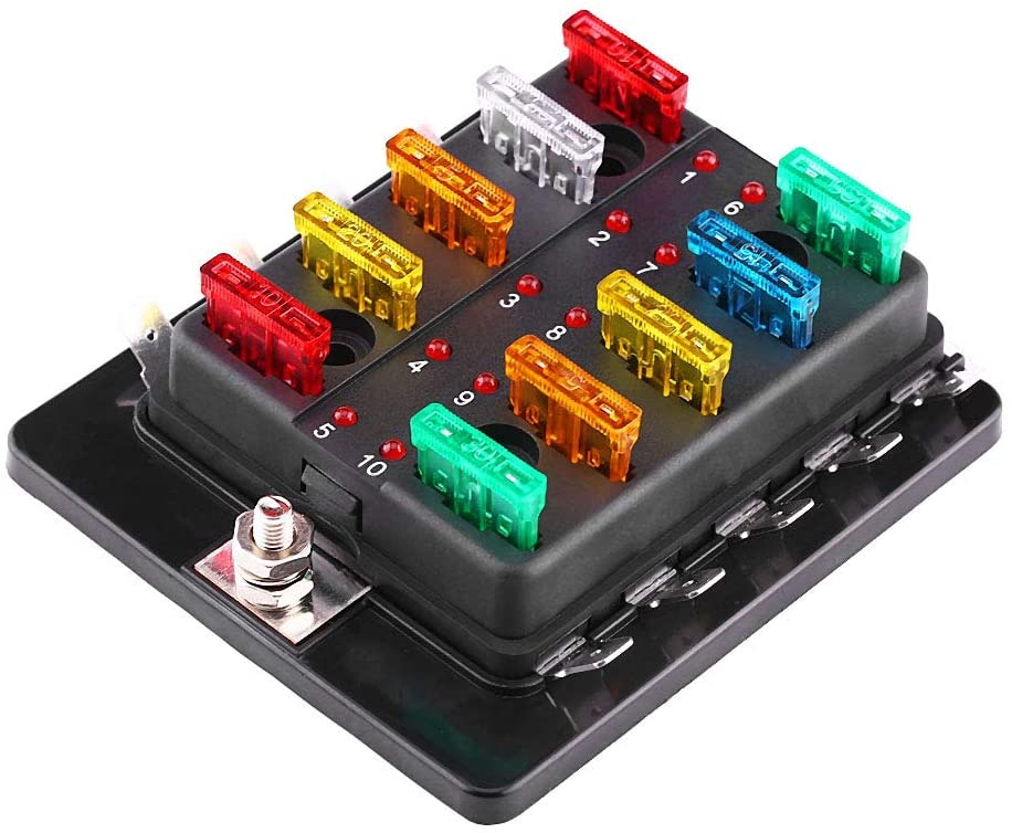10 Way Fuse Block, Car Vehicles Circuit Blade Fuse Box Block Holder With LED Warning Light Kit Car replacement Accessories Fit For Auto Van Boat Marine