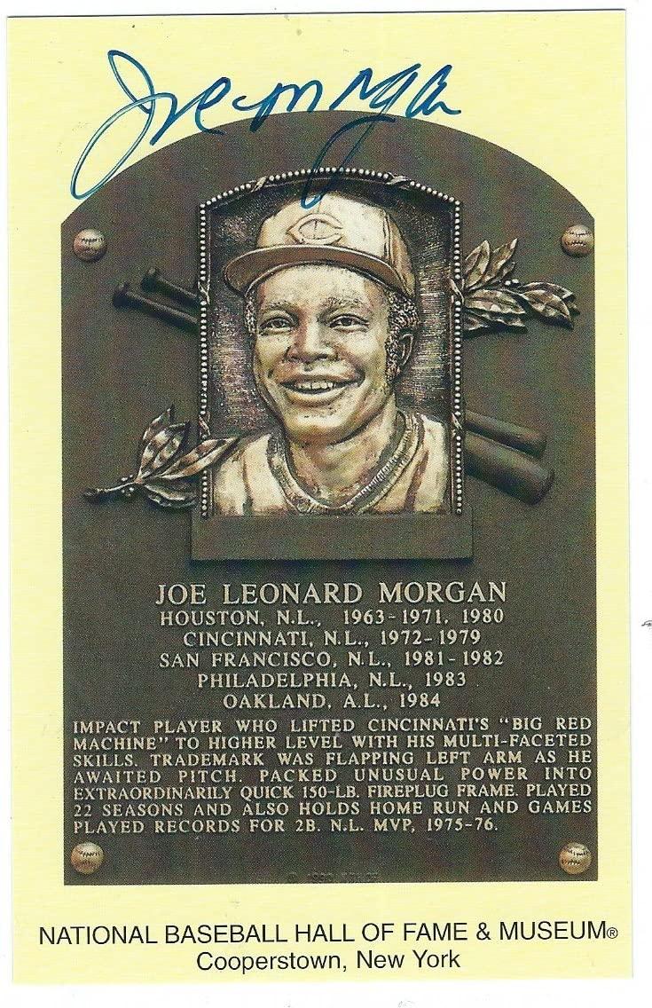 Autographed Joe Morgan HOF Gold Plaque Postcard