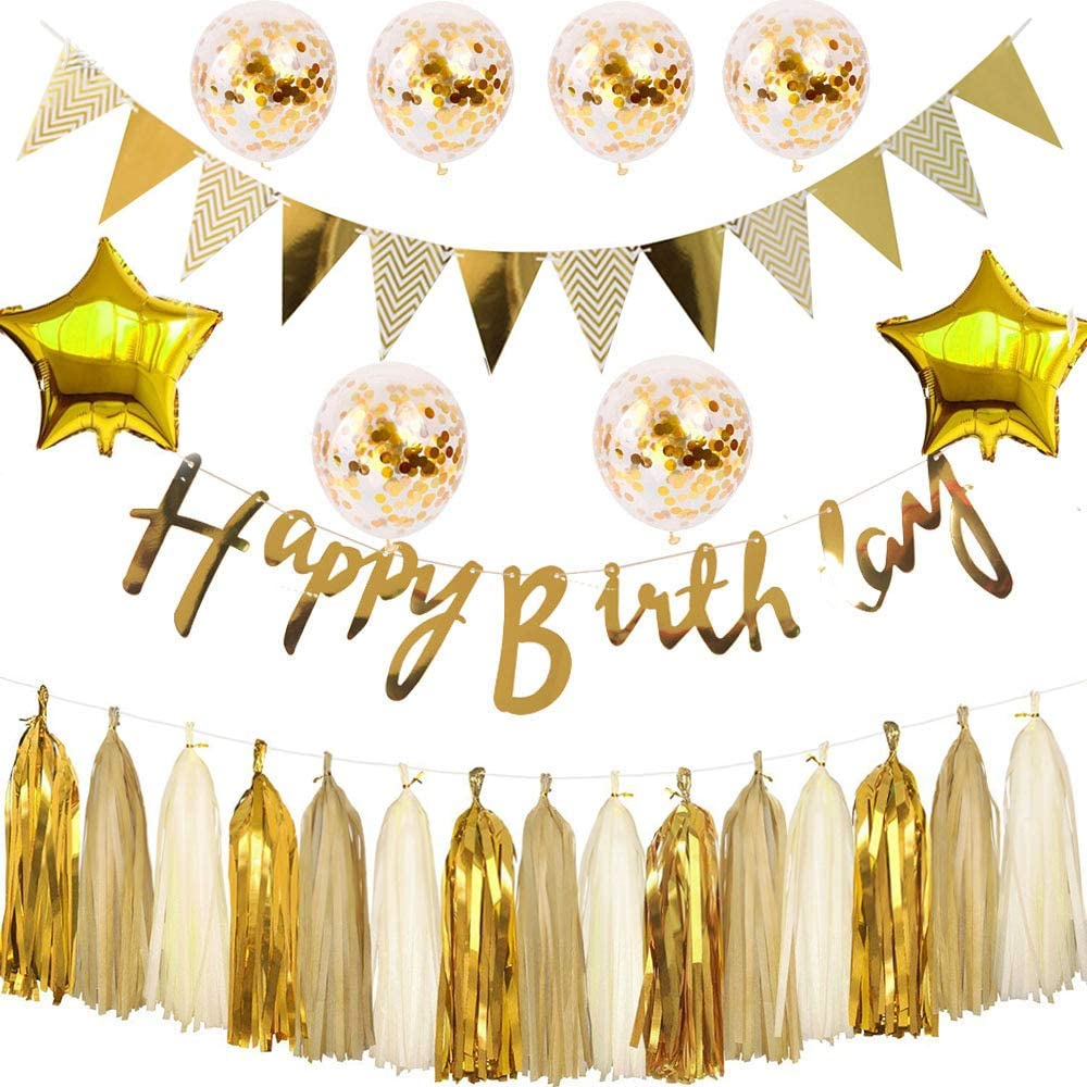 Happy Birthday Decorations,Gold party supplies,Birthday Party Kit Includes Gold Happy Birthday Banner,Gold Confetti Balloons, 18