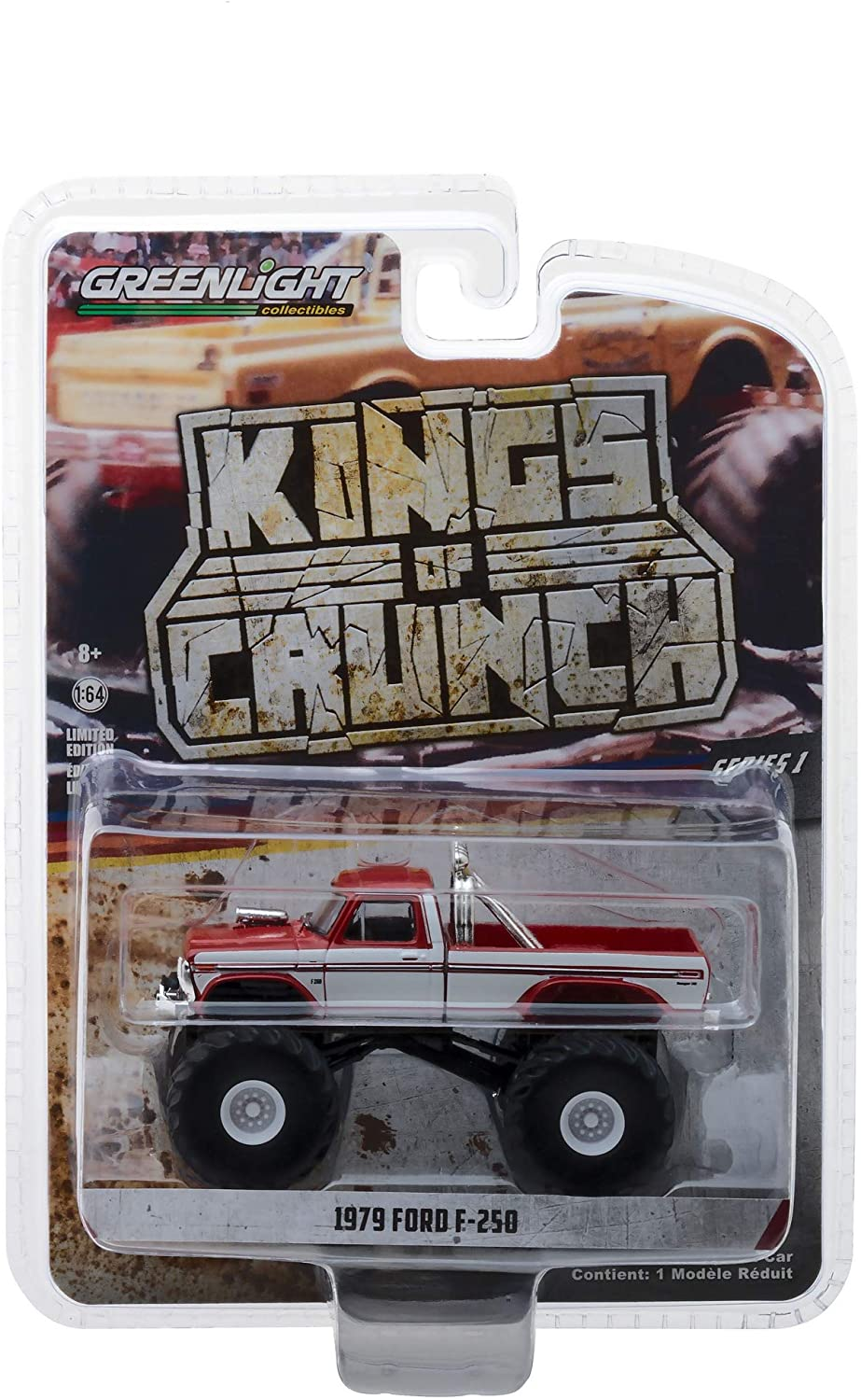 1979 Ford F-250 Monster Truck Red with White Sides Kings of Crunch Series 1/64 Diecast Model Car by Greenlight 49010 E