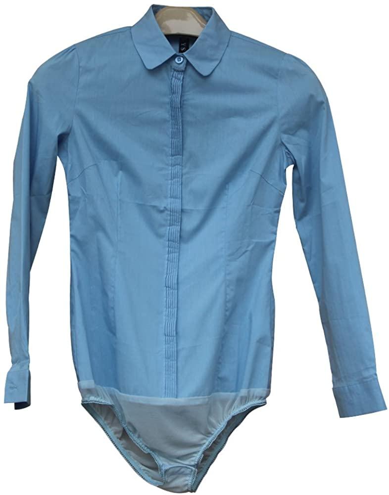 ZAMME Women's Slim Waist OL Bodysuit Shirts Tops Button Down Blouse