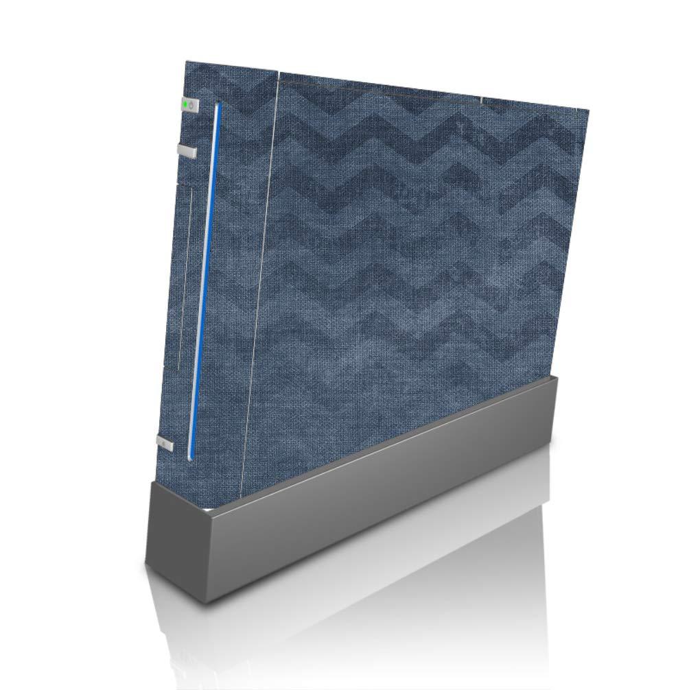 Blue Chevron Pattern Design Grunge Vintage Vinyl Decal Sticker Skin by Moonlight4225 for Wii Console