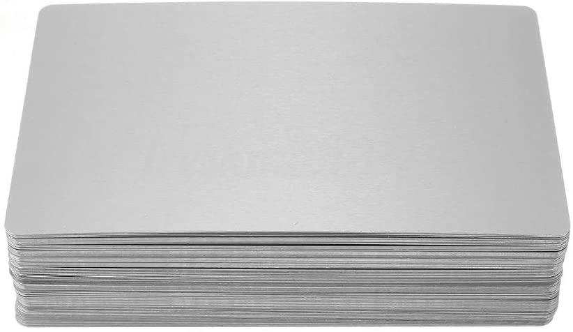 100Pcs/Set Laser Mark Engraved Blank Metal Business Cards 5 Colors Optional (Silver)