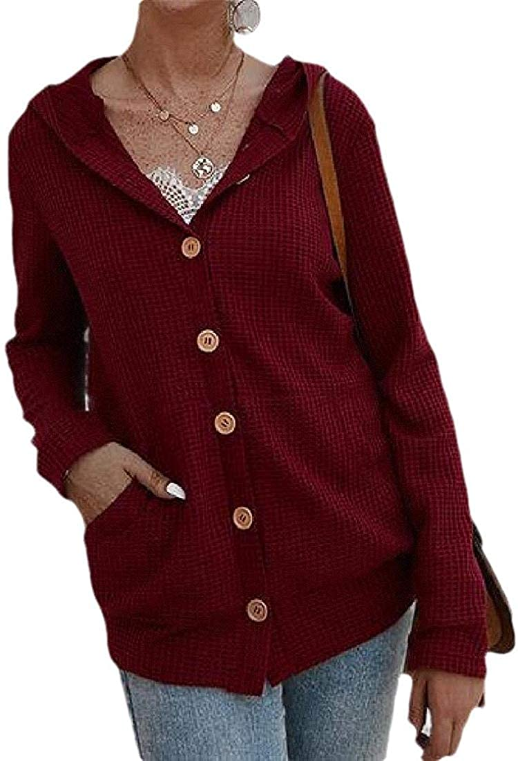 Womens with Hooded Button Long Sleeve Coat Casual Short Jumper Sweater Cardigan