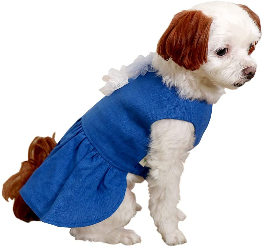Linen Closet] Puppy Dog Clothes Vivid Blue Pure Linen Dress, Environmentally Friendly Material, Lovely Skirt Ruffle, Small
