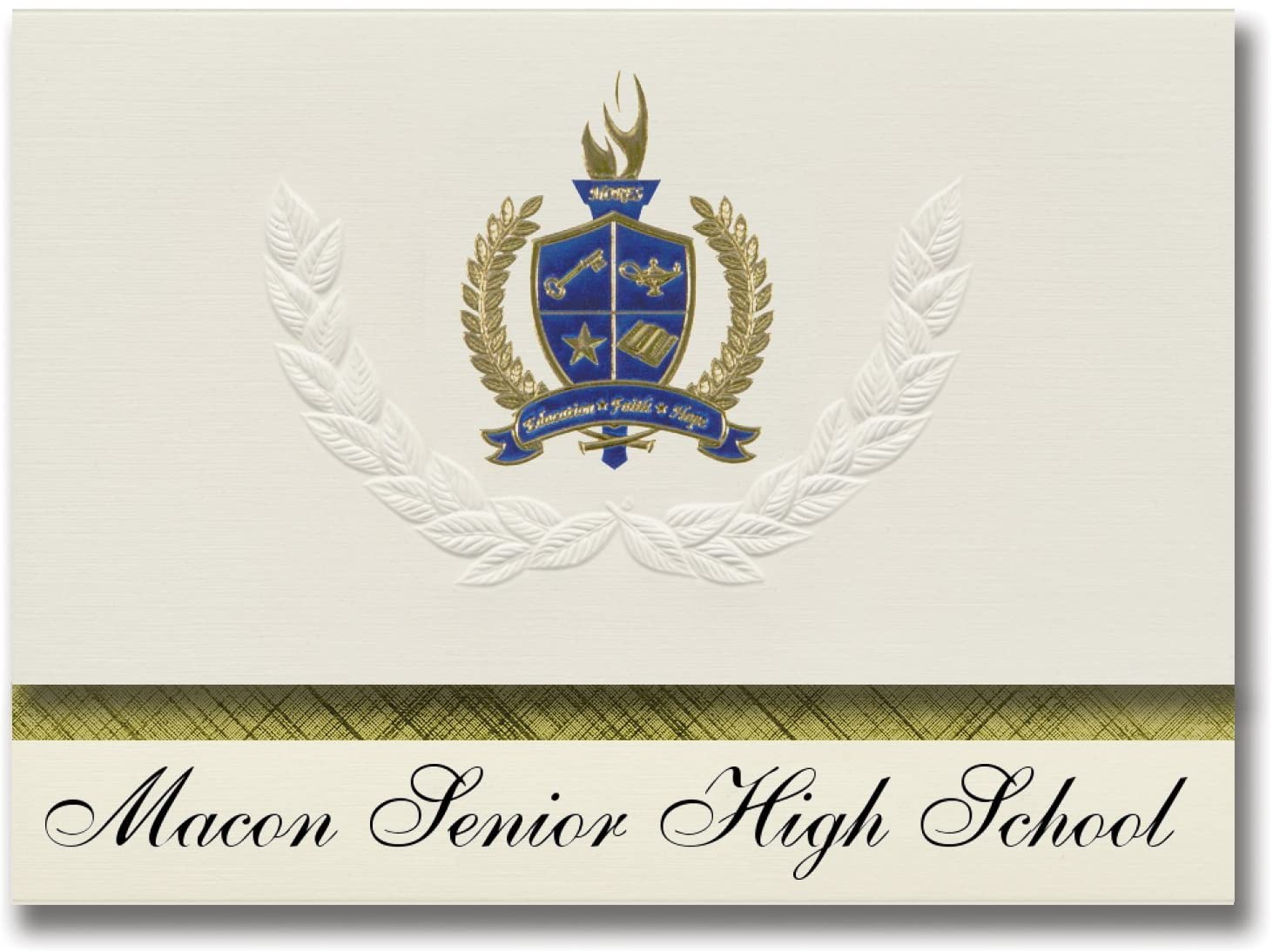 Signature Announcements Macon Senior High School (Macon, MO) Graduation Announcements, Presidential style, Basic package of 25 with Gold & Blue Metallic Foil seal