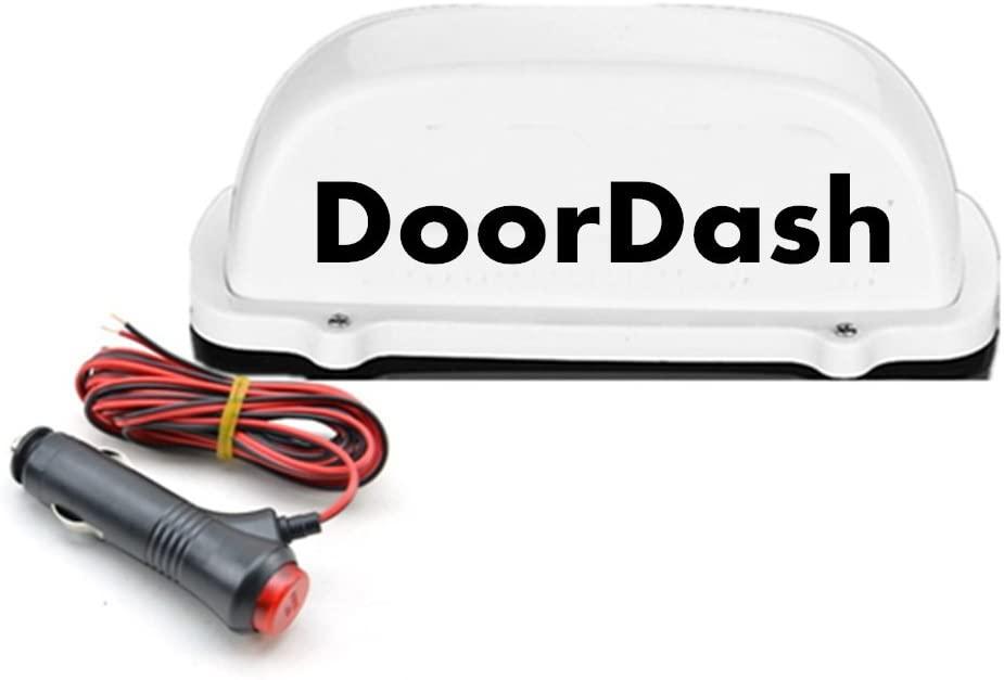 1 pcs DoorDash Taxi Top Light New LED Roof doordash Sign TOP light 12V with Magnetic Base white 3M charger line