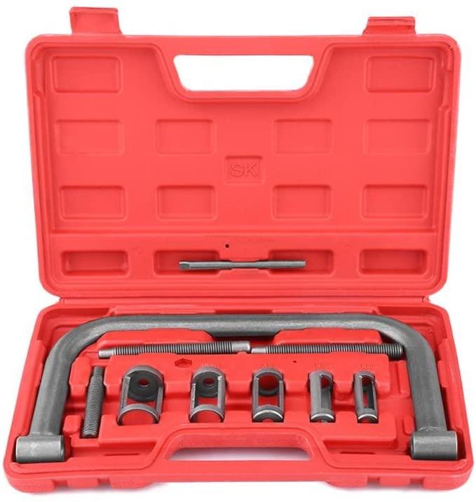 Spring Compressor Kit, Cuque10 Pcs Valve Spring Compressor Kit Removal Installer Tool Steel Fit for Car Van Motorcycle Engines
