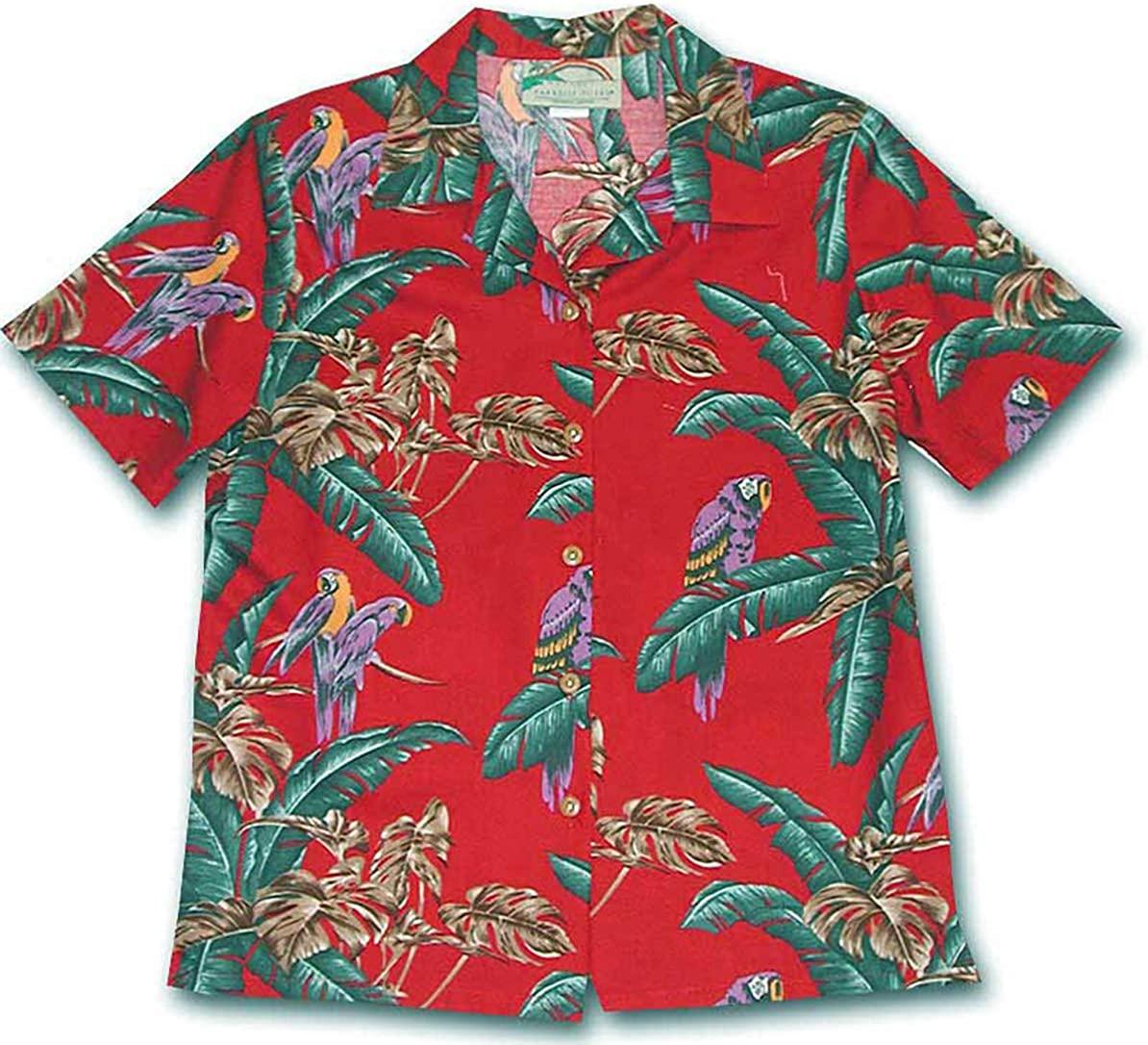 Paradise Found Women's Jungle Bird Aloha Shirt, Red, S