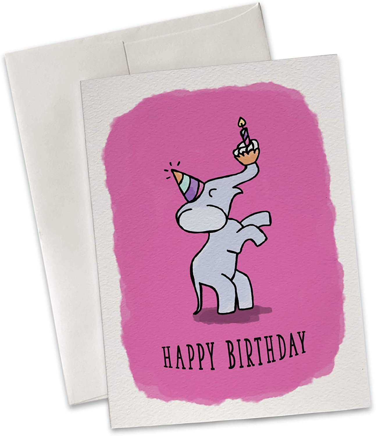 Party Elephant Birthday Card With Envelope - 100% Recycled Cute Greeting Card