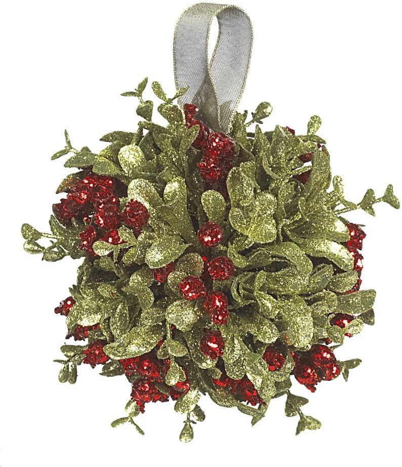 Ganz 5 Inch Mistletoe Kissing Ball Ornament,Red,5