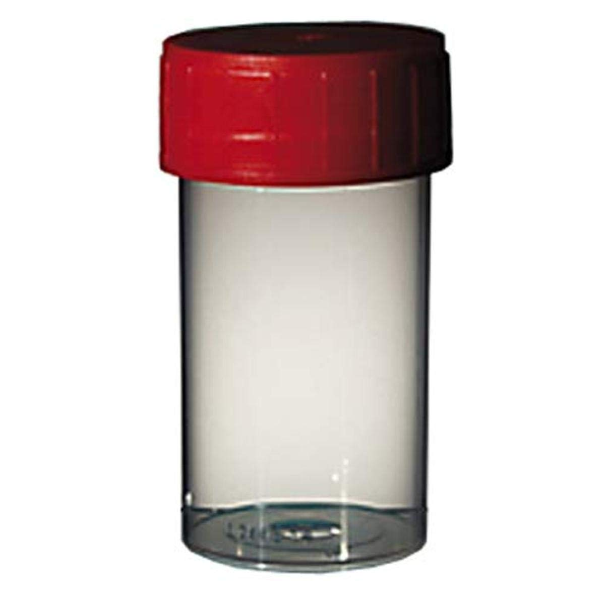 CORNING GOSSELIN TP52C-002 Straight Containers with Red Polyethylene Cap, 125 mL Natural, 74 x 52 mm Diameter, Red Screw Cap, Sterile (Pack of 380)