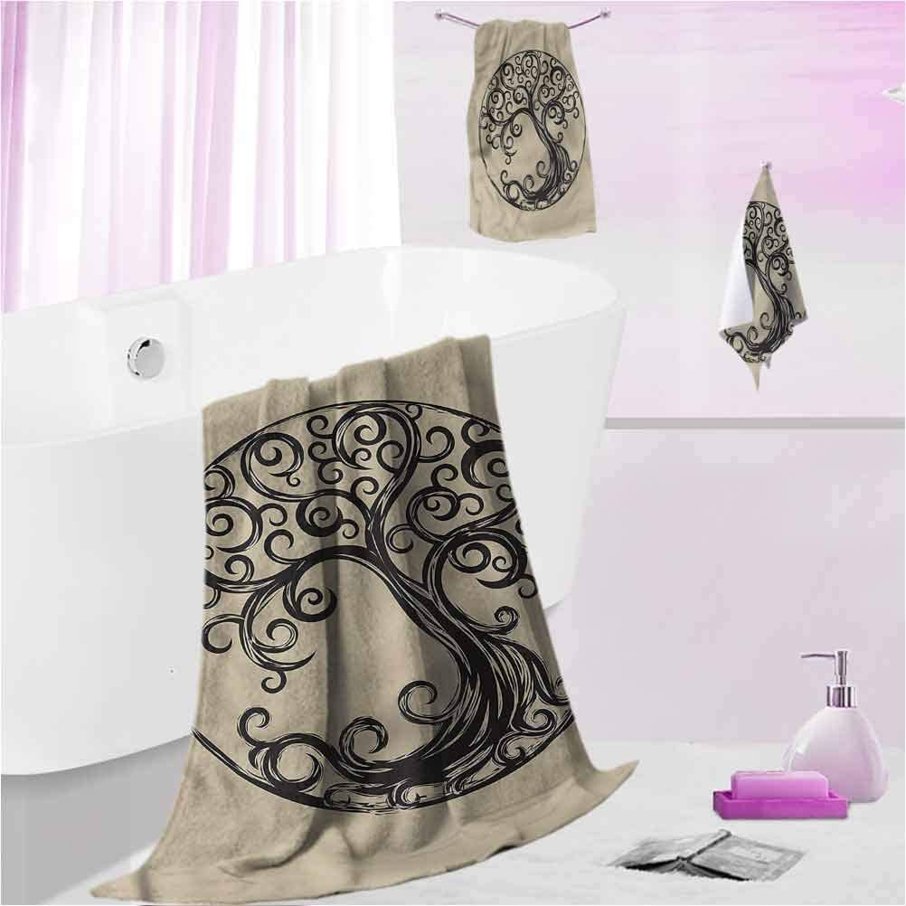 DayDayFun Custom Towels Tree of Life Odor Resistant, Highly Absorbent Curvy Tree Silhouette S - Contain 1 Bath Towel 1 Hand Towel 1 Washcloth
