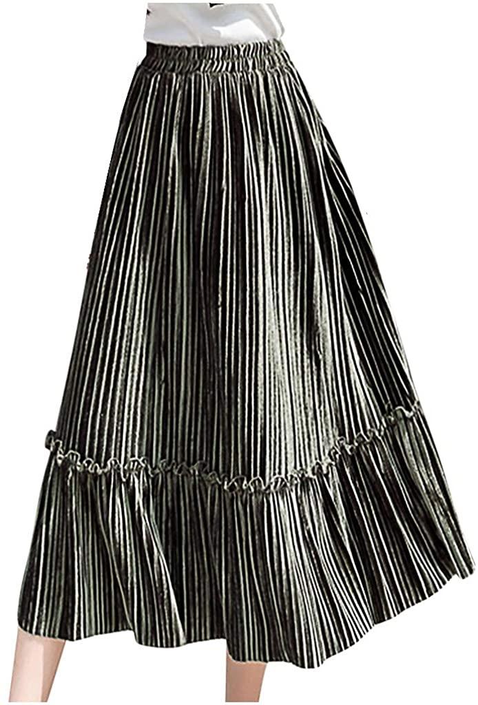 Dacawin Women's Maxi Long Skirts Cozy Elastic High Waist Velvet Pleated Swing Falbala Skirt