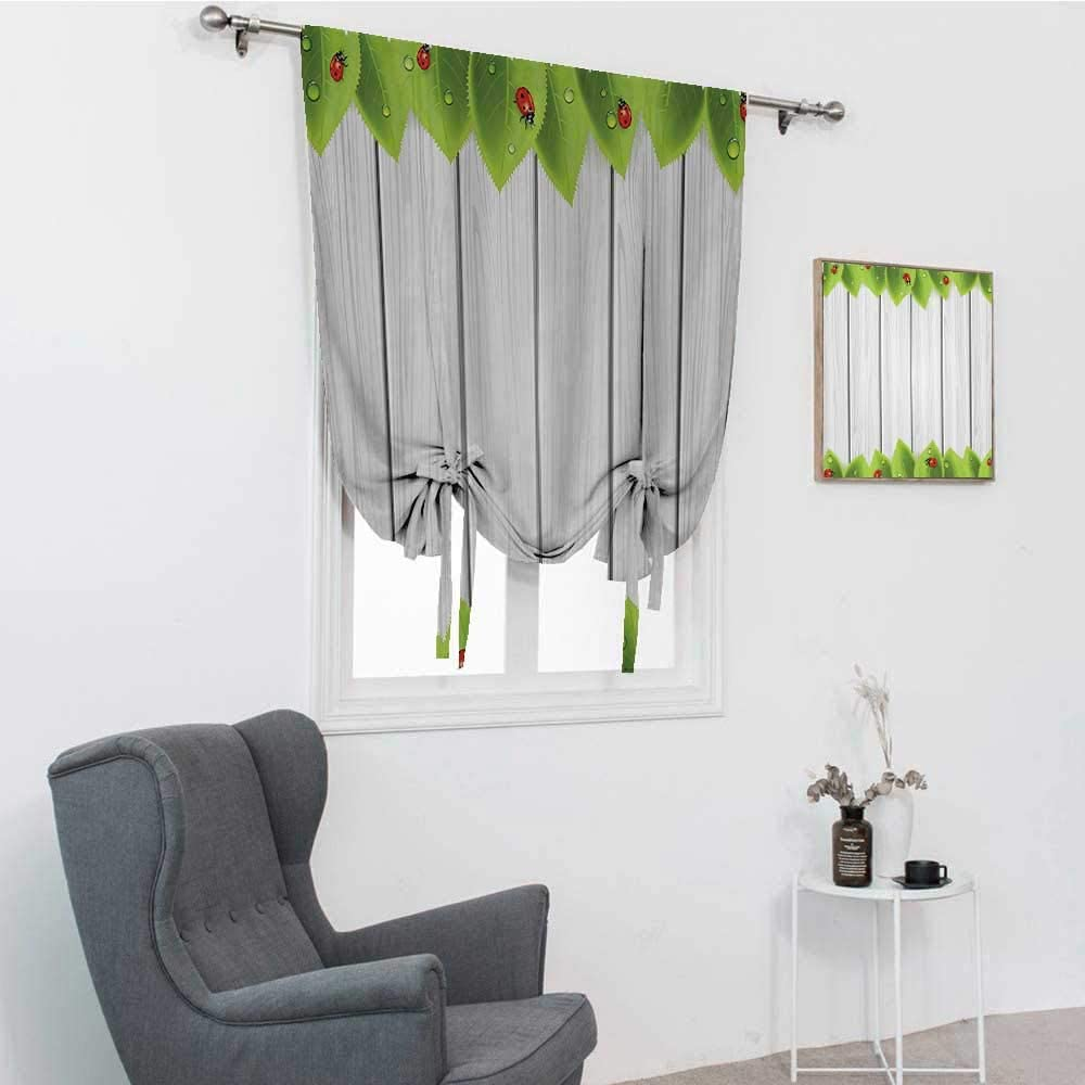 Ladybugs Decorations Collection Bathroom Curtains Window, Foliage on Wooden Background with Ladybugs and Drops Countryside Illustration Image Roman Window Shades for Window, Gray Red, 35
