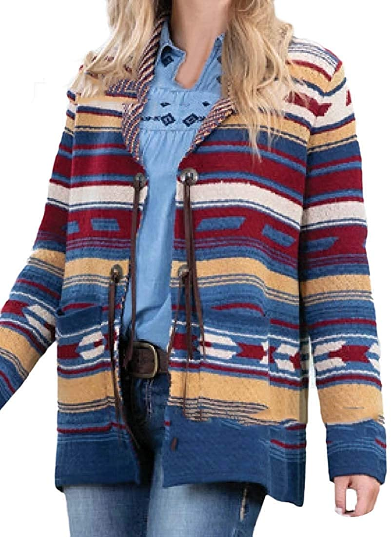 Women's V-Neck Striped Tops Long Sleeve Knit Casual Cardigans Coat