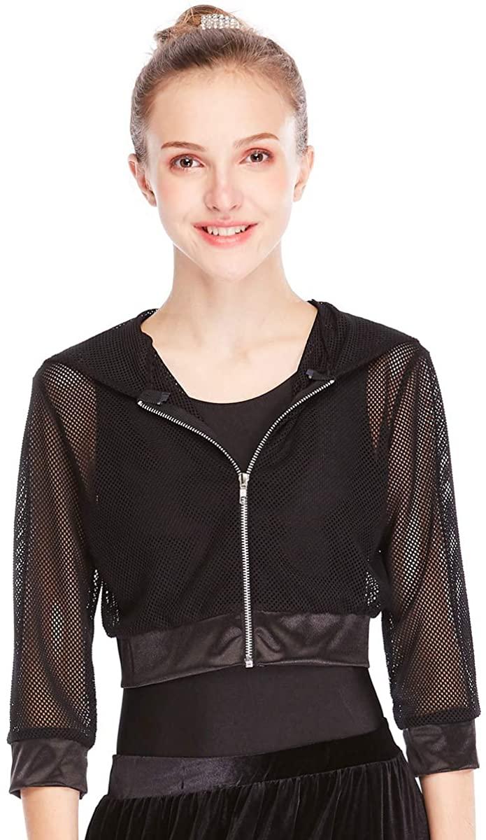 MiDee Novelty Fishnet Hoodies Hip-Hop Costumes Hiphop Jacket 3/4 Length 5 Colors (LC, Black)
