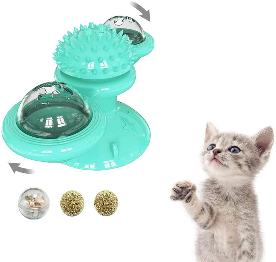 GAPZER Spinning Windmill Cat Toy Interactive Chews Rotating Cat Toys for Indoor Catnip Ball Massage Scratching Tickle Kitten Cats Toy with Suction Cup and LED Bell