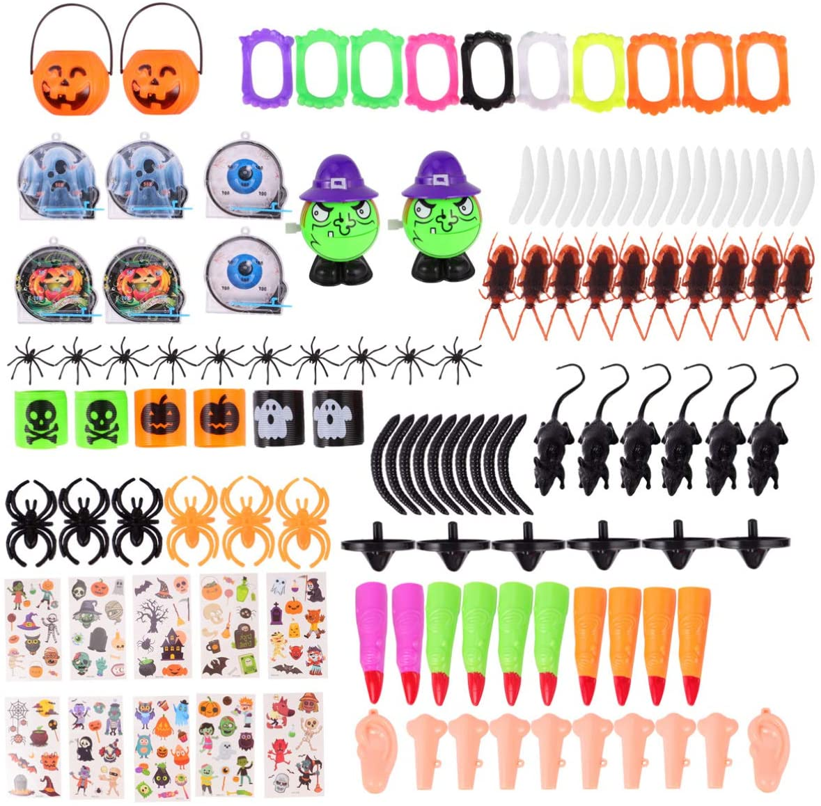 TENDYCOCO 120pcs Kids Party Toy Halloween Scary Props Halloween Tricky Toys Funny Carnival Photo Props