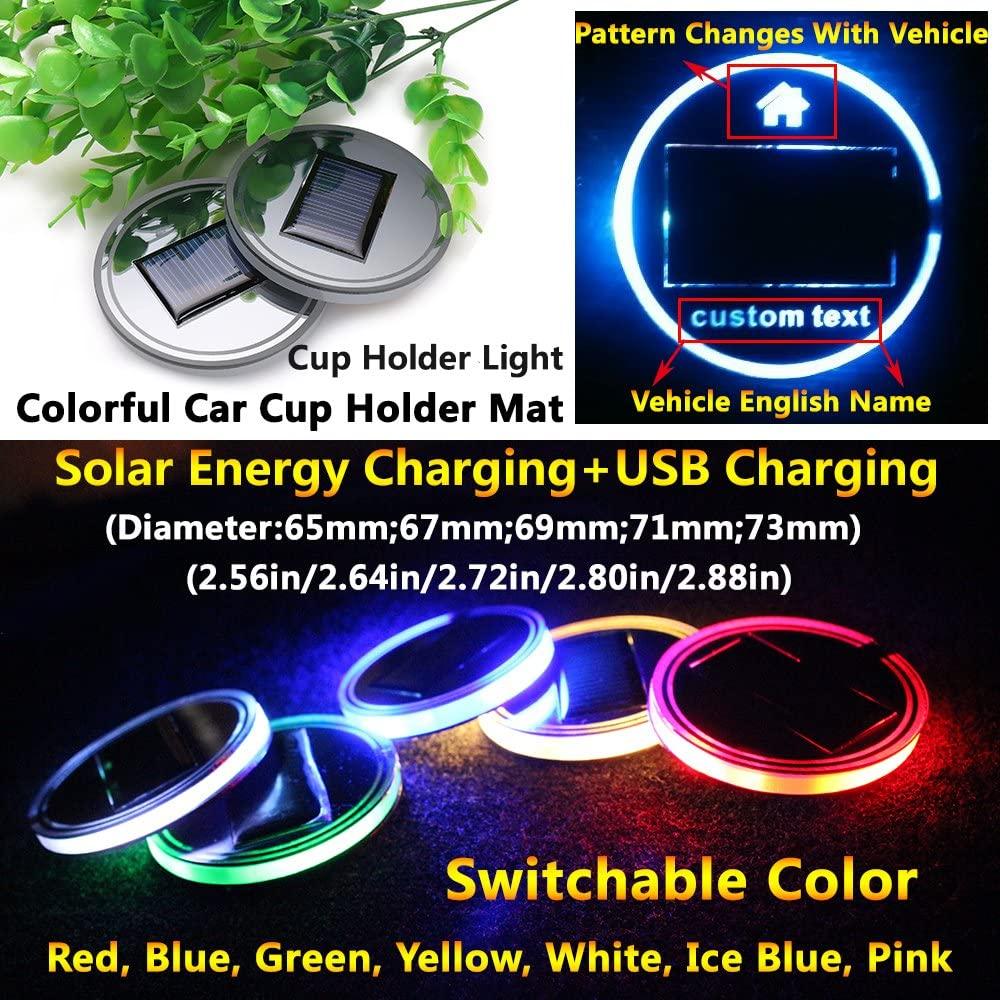 2pcs Solar Energy Car Logo LED lights Cup Holder Pad Mat lamp Trim light Interior Decoration lamps for Infiniti JX35 QX80 QX56 Q70L QX30 G35X FX35 Qx70 Q70 accessories (Circle Diameter: 2.64 Inch)