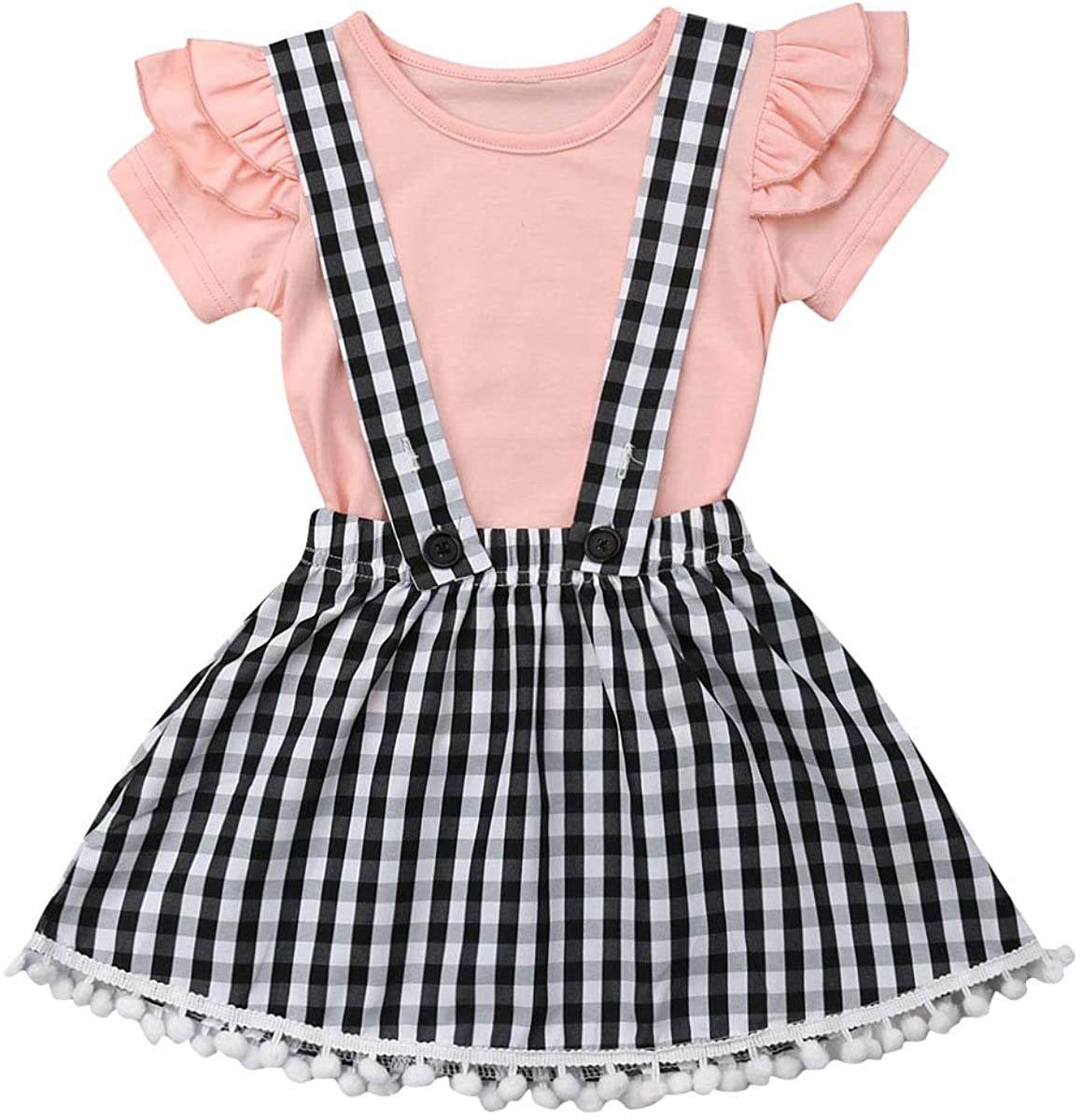 Kid Girls Summer Skirts Set Solid Ruffle T-Shirt +Plaid Dress Strap Tutu Skirts Suspender Outfits
