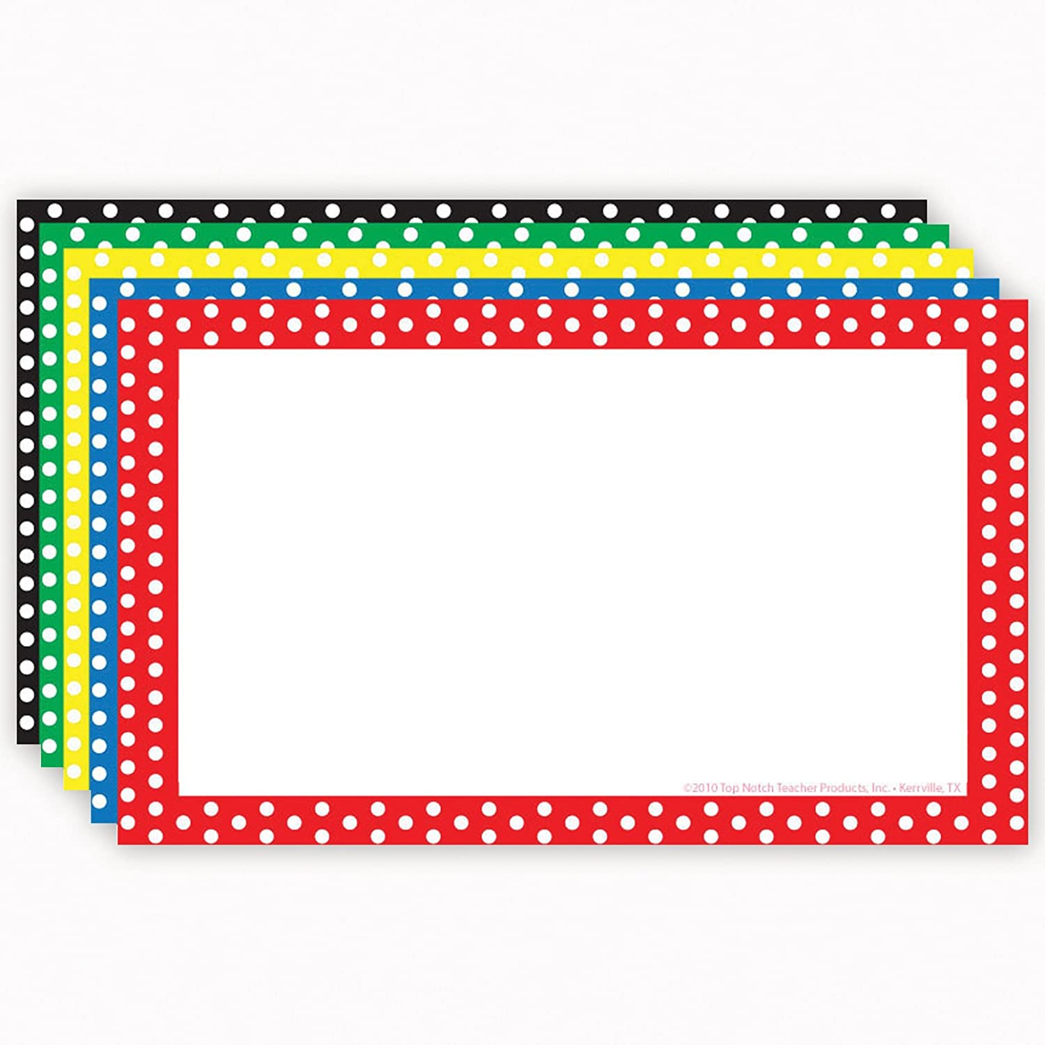 Top Notch Teacher Products Border Blank Index Cards (75 Count), 4 x 6, Polka Dot Assorted