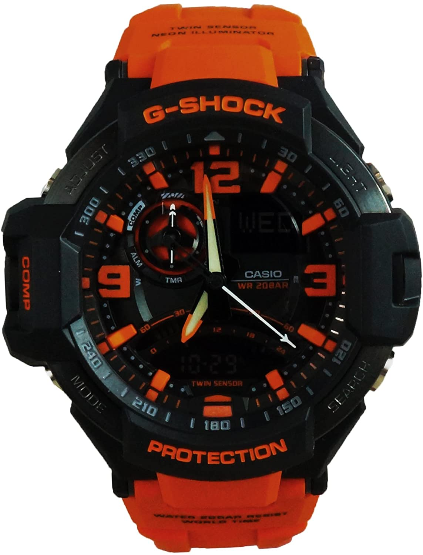 G-Shock Unisex G-Aviation Twin Sensor GA1000-4A Black/Orange