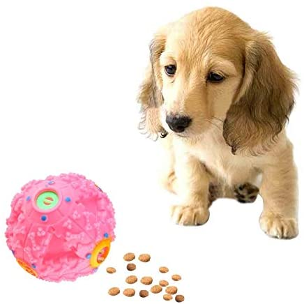 Pet Toys Great Pet Food Dispenser Squeaky Giggle Quack Sound Training Toy Chew Ball, Size: M, Ball Diameter: 9.2cm(Pink)
