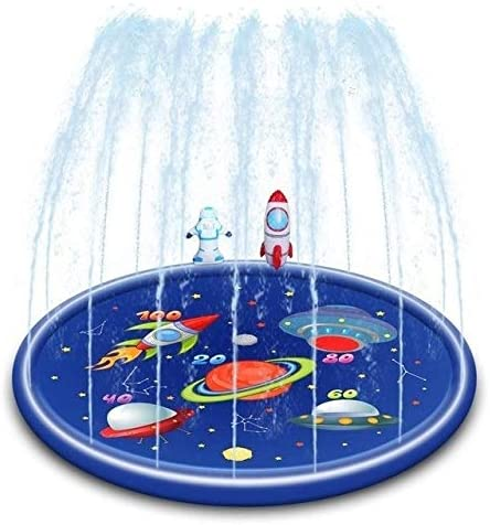 Interesting Pattern Inflatable Baby Slap Mat Water Pad Children's Inflatable Round Water Splash Pad Water Pad Summer Water Game Pad Inflatable Spray Water Pad Outdoor Recreation Pool Mat Super High Qu