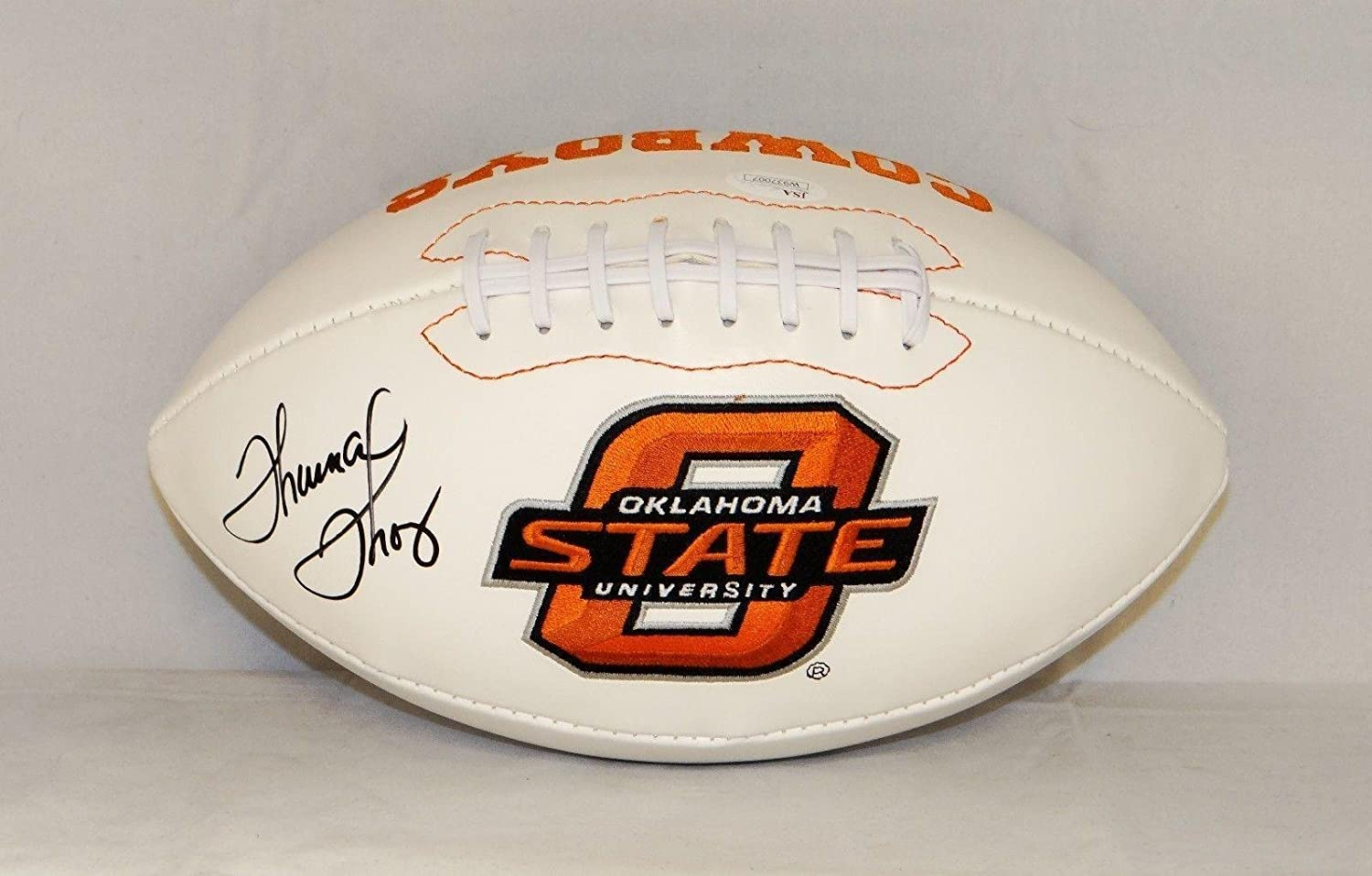 Thurman Thomas Autographed OSU Cowboys Logo Football- W Authenticated - JSA Certified - Autographed College Footballs