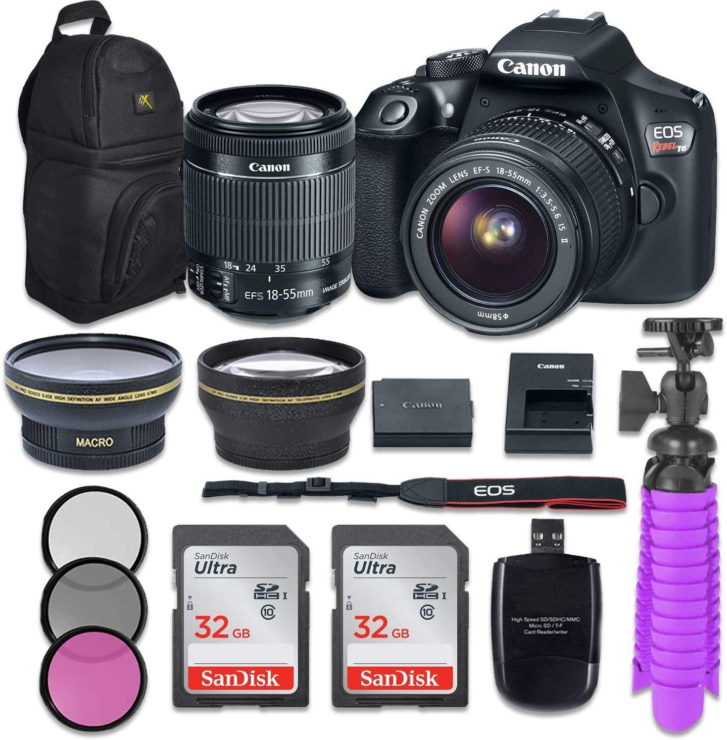 Canon EOS Rebel T6 Digital SLR Camera with EF-S 18-55mm is II Kit + Accessory Bundle (Renewed)