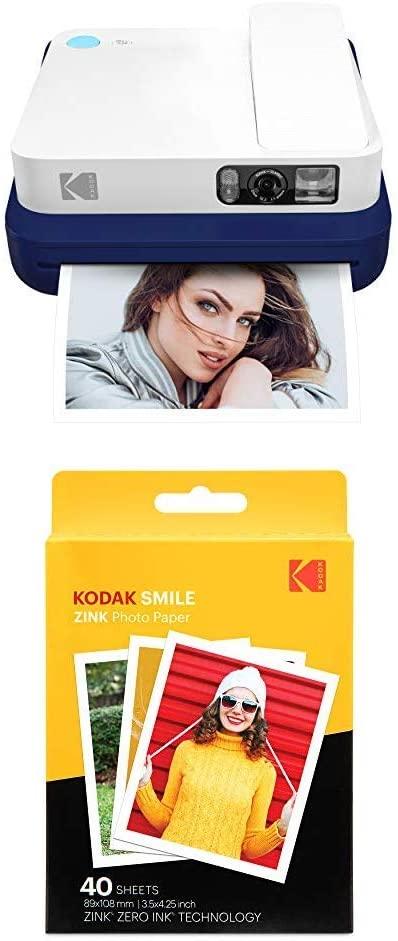 Kodak Smile Classic Digital Instant Camera with Bluetooth (Blue) with Kodak 3.5x4.25 inch Premium Zink Print Photo Paper (40 Sheets)