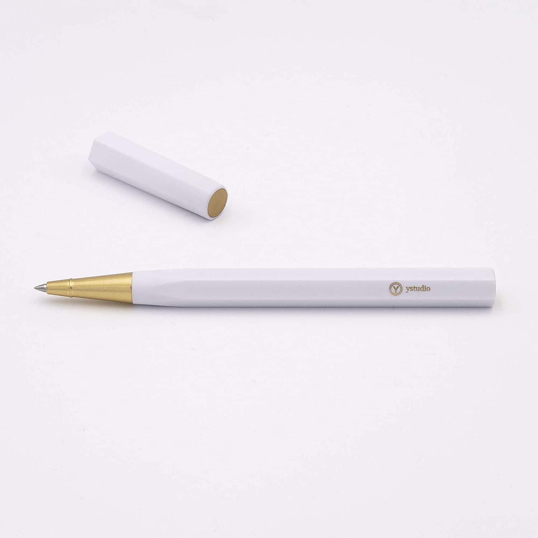 YStudio Brass & Resin Rollerball Pen Roller Ball - White