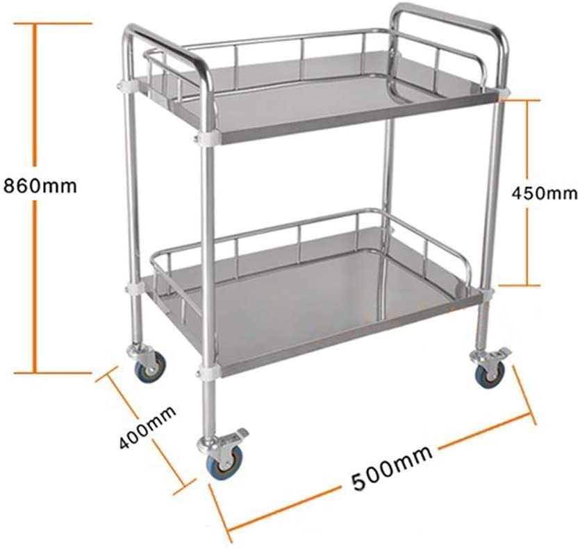 HTL Serving Cart, Storage Rack,-Medical Cart Tool 2 Tier Medical Equipment Cart with Universal Brake Wheels, Stainless Steel Beauty Salon Rolling Trolley, 86Cm Tall Utility Cart,Xs-504086Cm