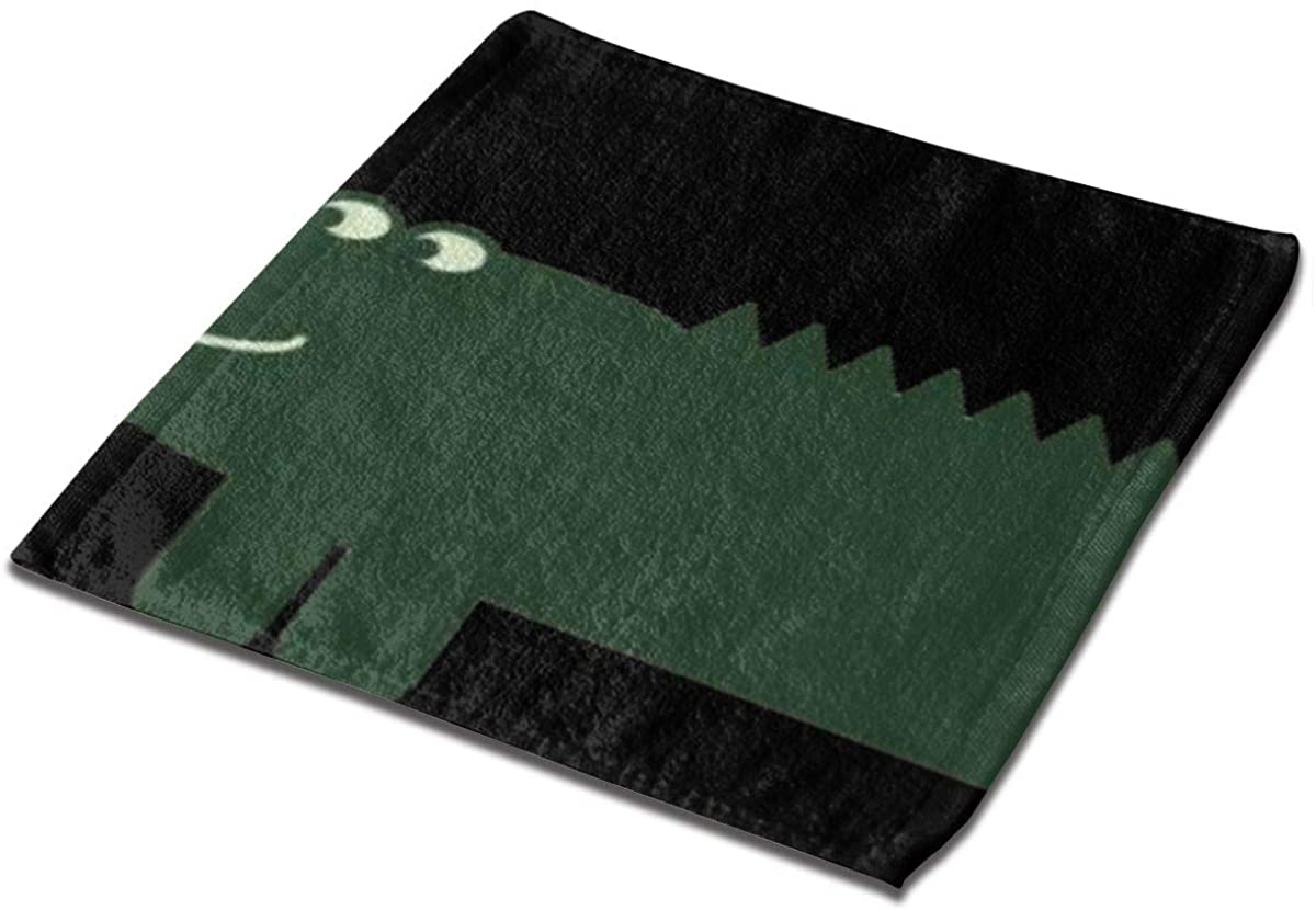 Cartoon Green Alligator Square Washcloths Face Wash Cloth Fingertip Towel Rags Soft Merch Gift and Absorbent 13 x 13 inches