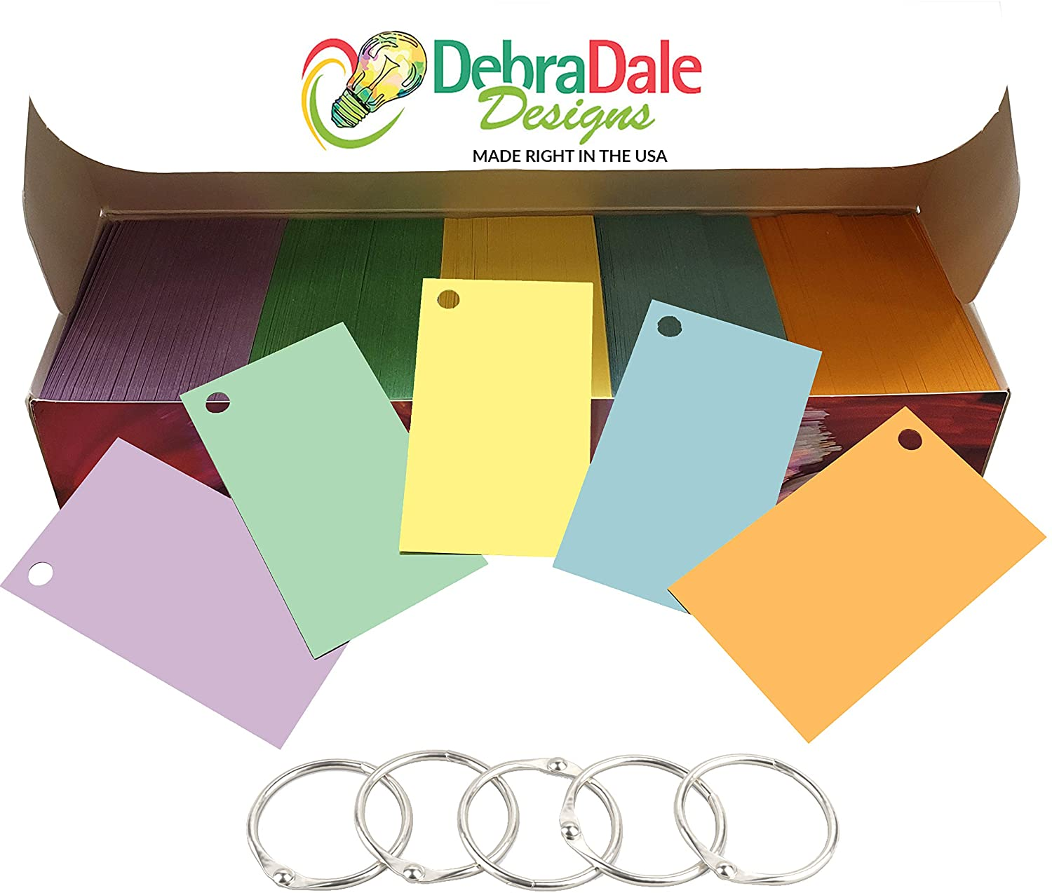 Debra Dale Designs - Made RIGHT in the USA - Blank Flash Cards with Rings in 5 Pastel Colors - 1100 Index Cards - Hole Punched with 5 Rings, 2