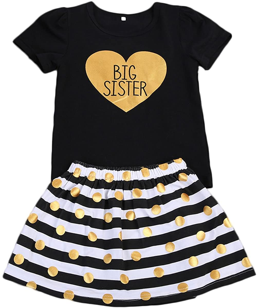 Kids Baby Girls Little Sister Romper Pants Big Sister T-Shirt Dress Outfits Set