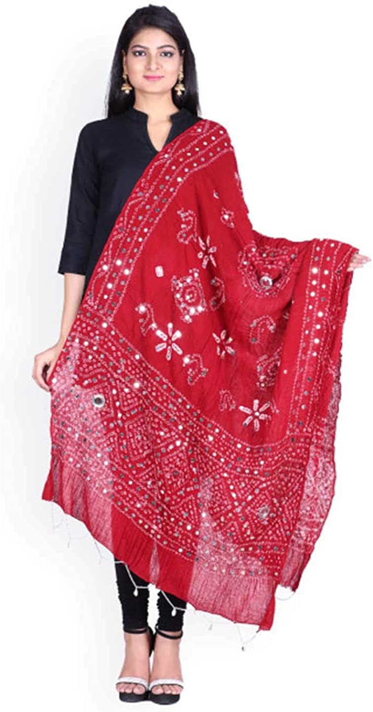 SOUNDARYA Red Bandhini Print Dupatta with Mirror Work
