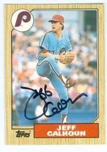 Jeff Calhoun autographed baseball card (Philadelphia Phillies) 1987 Topps #16T Traded