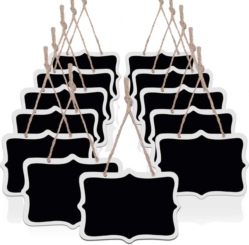 Bestsupplier Mini Rectangle Chalkboard Label for Message Board Signs, Black, Set of 10