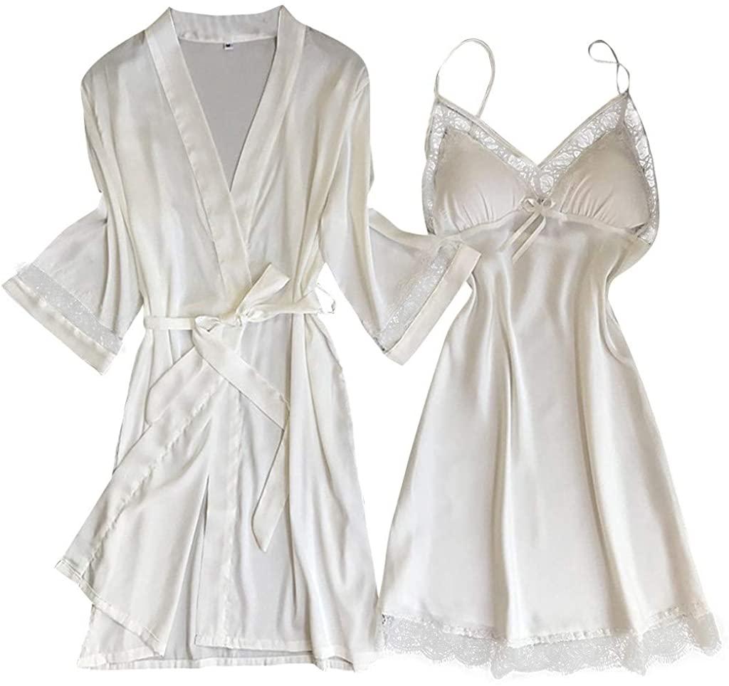 Yaseking Women Satin Nightdress Set Ladies Sexy V-Neck Plus Size Sling Loose Robe Dress Babydoll Sleepwear Underwear