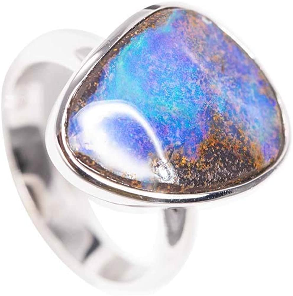 Enchanted Paradise Sterling Silver Solid Boulder Opal Ring