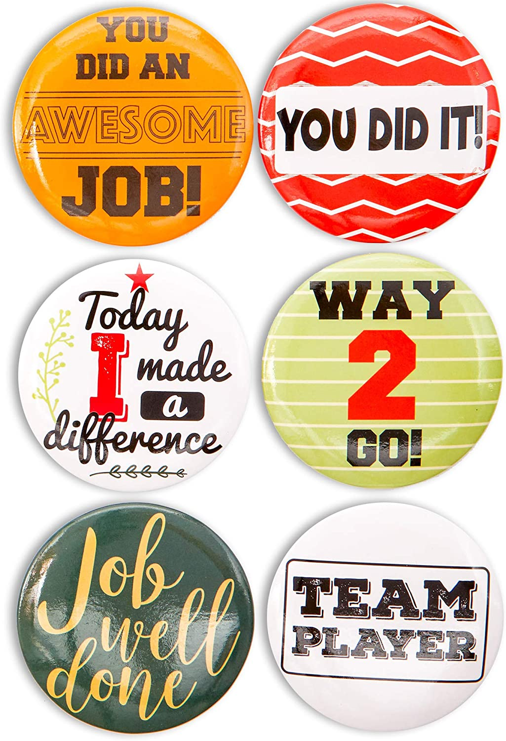 Blue Panda Round Recognition Buttons, Appreciation Pins in 6 Designs (2.25 Inches, 24-Pack)