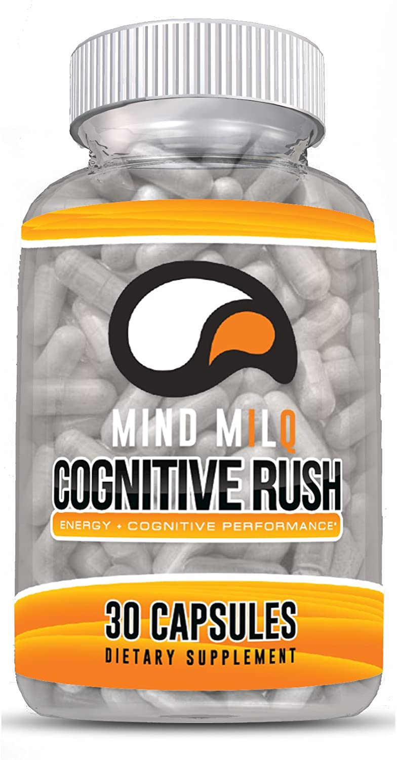 MIND MILQ Cognitive Rush: 30 Capsules Premium Brain Supplement + Energy – Focus Supplement with Sensoril® Ashwagandha & Teacrine® Theacrine for Reduced Stress and Long Lasting Energy