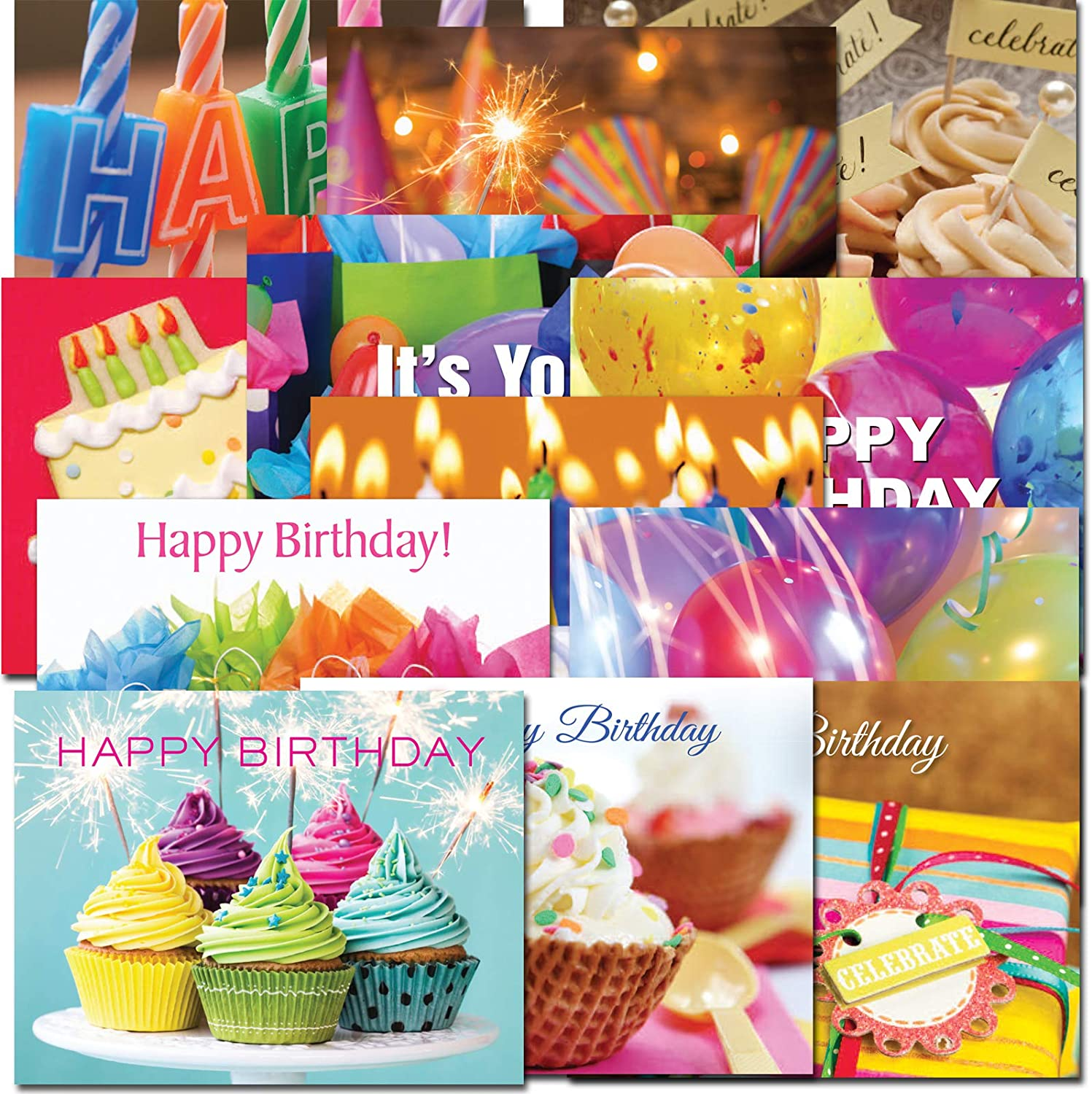 POSTCARDS: Birthday Dozen, boxed 60 postcards 5 each of 12 designs Made in USA by CroninCards No Envelopes