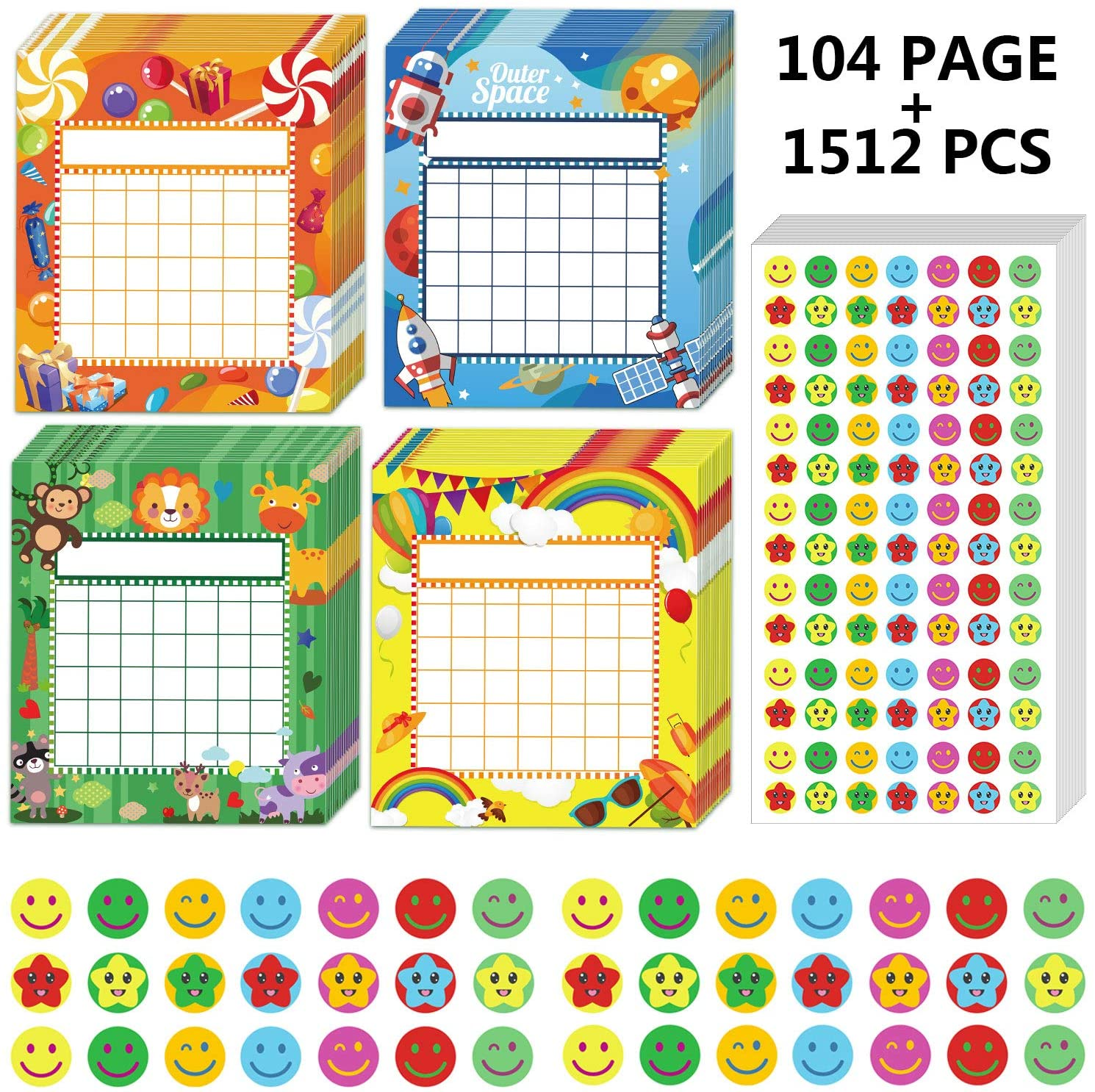 60 Pieces Classroom Incentive Charts Colorful Incentive Charts with 1960 Pieces Reward Face Star Stickers for Classroom Teaching Family Supplies