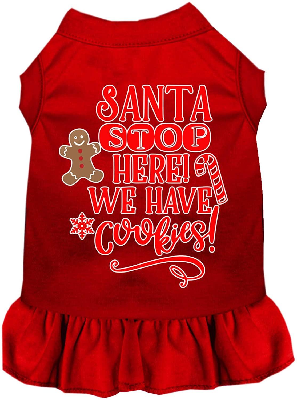 Mirage Pet Product Santa, We Have Cookies Screen Print Dog Dress Red Sm