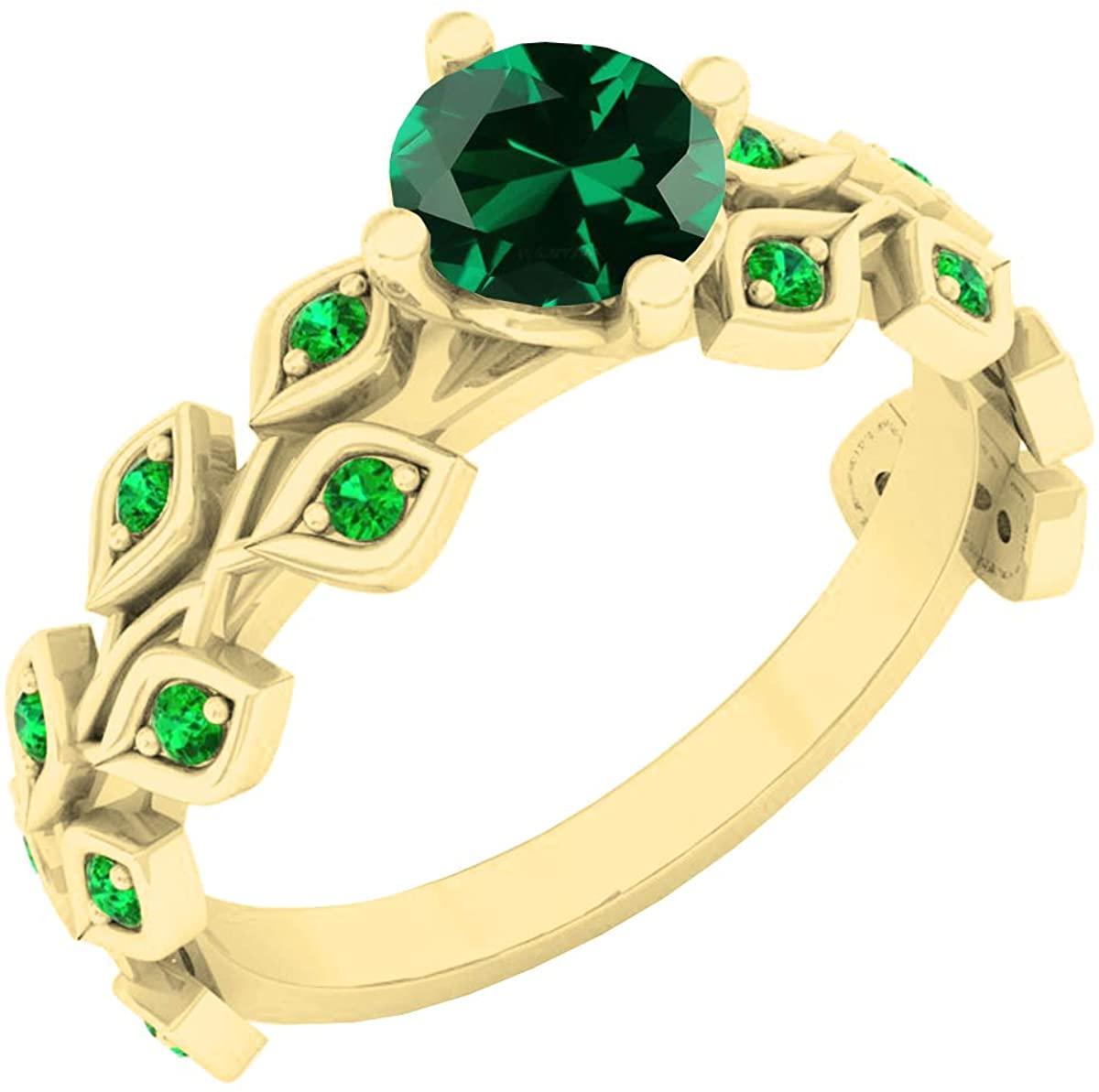 Dazzlingrock Collection 18K 5.5 MM Round Lab Created Gemstone & Emerald Ladies Bridal Engagement Leaf Ring, Yellow Gold