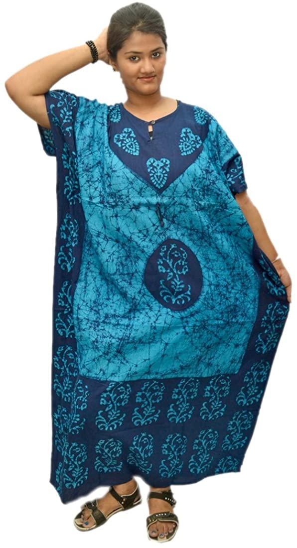 Odishabazaar Womens Cotton Caftan Nighty Blue Batik Kaftan Maxi Dress