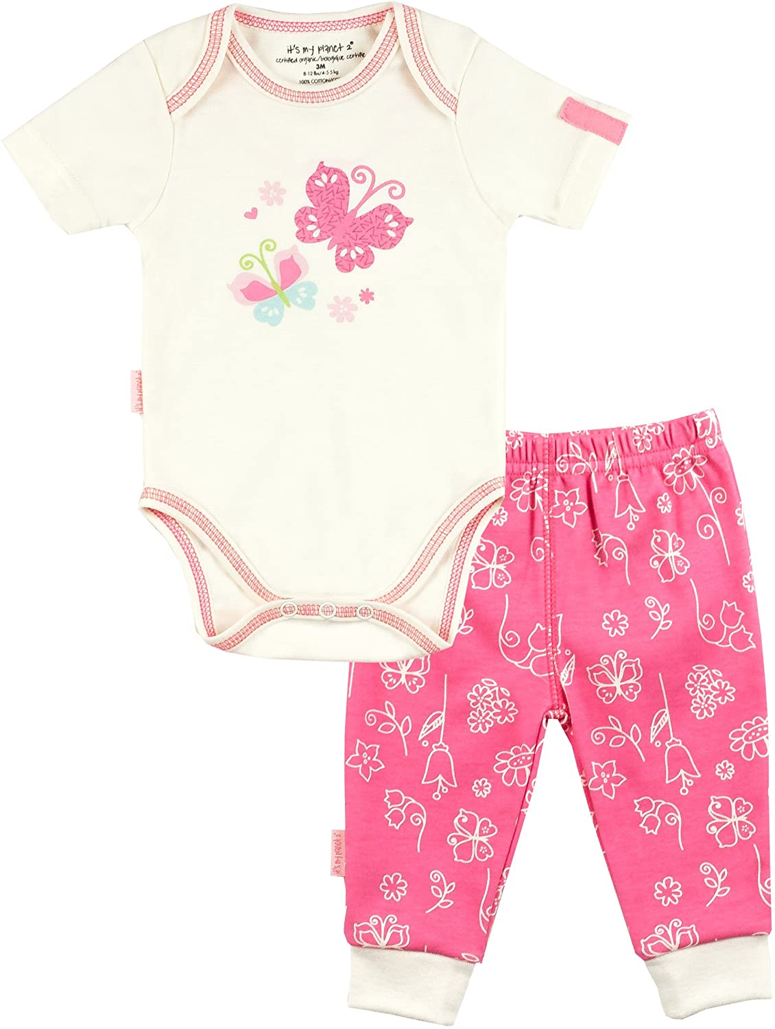 It's My Planet Baby Girls' Newborn Cotton Short Sleeve Bodysuit and Play Pant Set